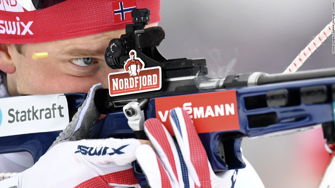 Tarjei Boe of Norway wins the gold medal during the IBU Biathlon World Championships Men's Relay on Saturday, March 12, in Oslo, Norway.