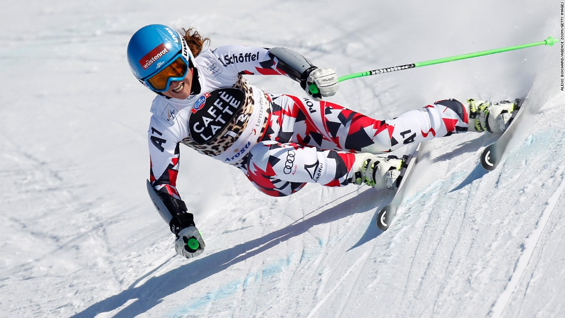 Elisabeth Goergl of Austria competes during the Alpine Ski World Cup on Saturday, March 12, in Lenzerheide, Switzerland.