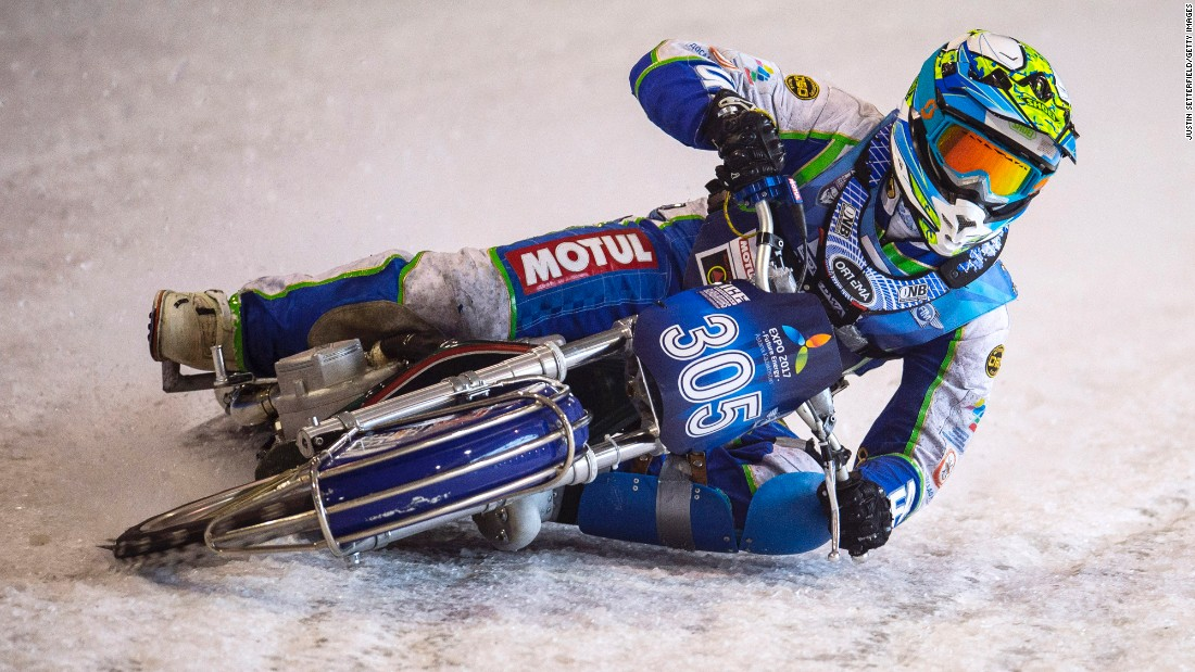 Riders test the ice ahead of the Ice Speedway World Championships on Friday, March 11, in Assen, Netherlands.