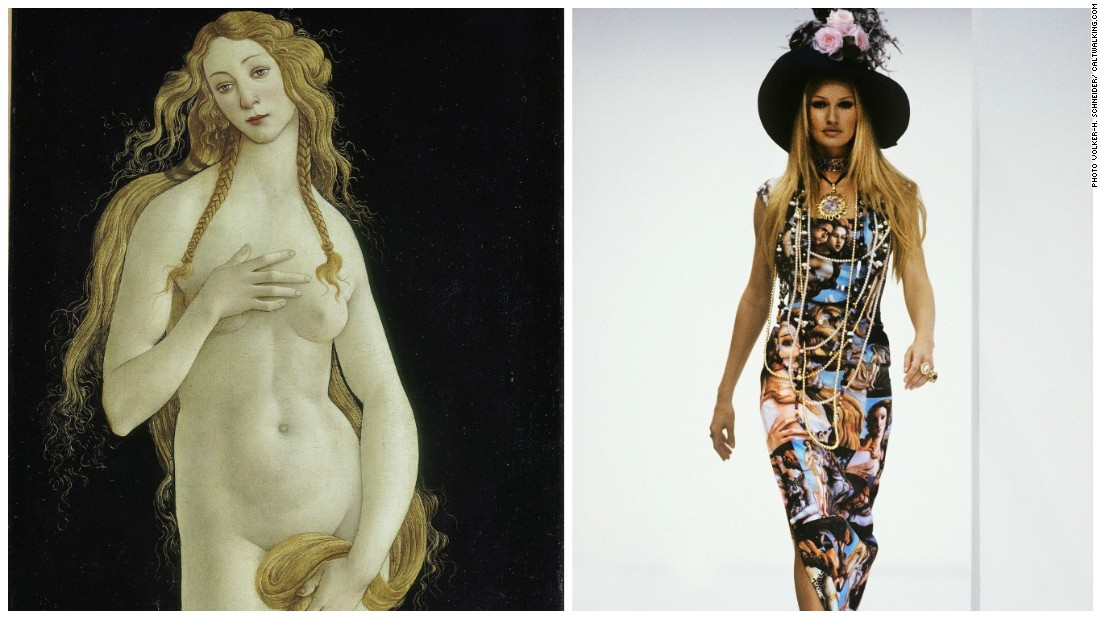 "The Birth of Venus was revived in a typically extravagant Dolce & Gabbana print in the early '90s, worn here on the catwalk by Karen Mulder. Two decades later it would sit on the shoulders of Lady Gaga whilst promoting her album ""Artpop"" in 2013."