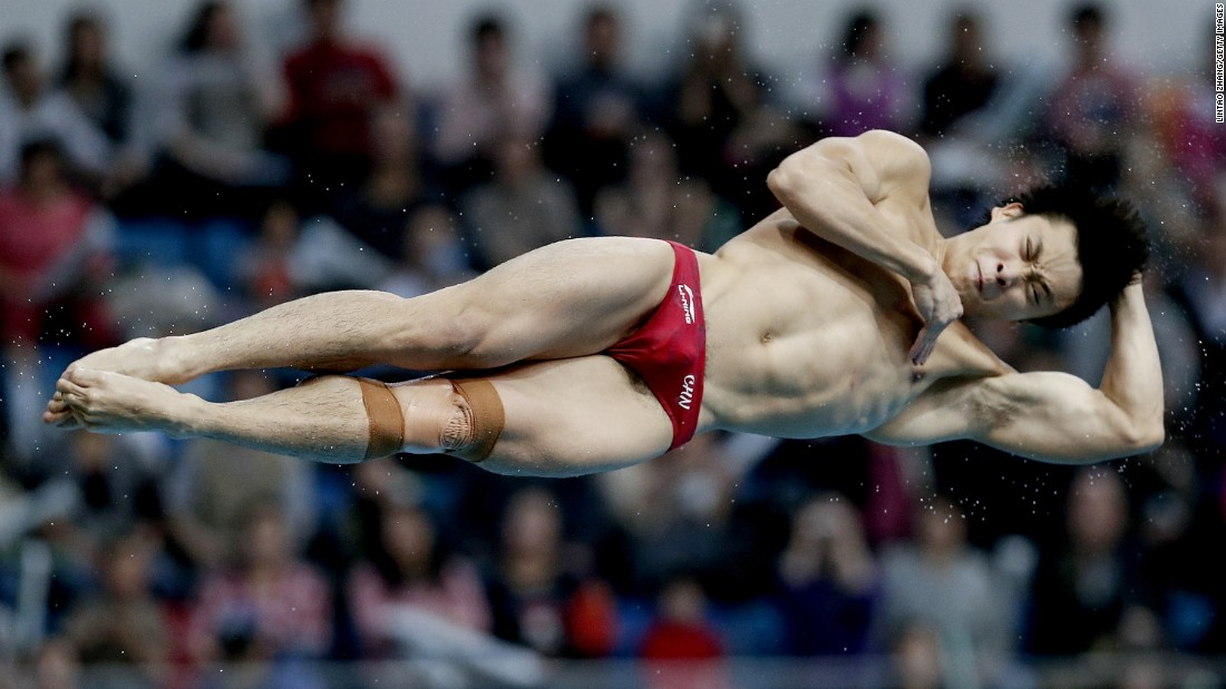 Cao Yuan of China compete during day two of the Diving World Series 2016 Beijing Station on Sunday, March 12.