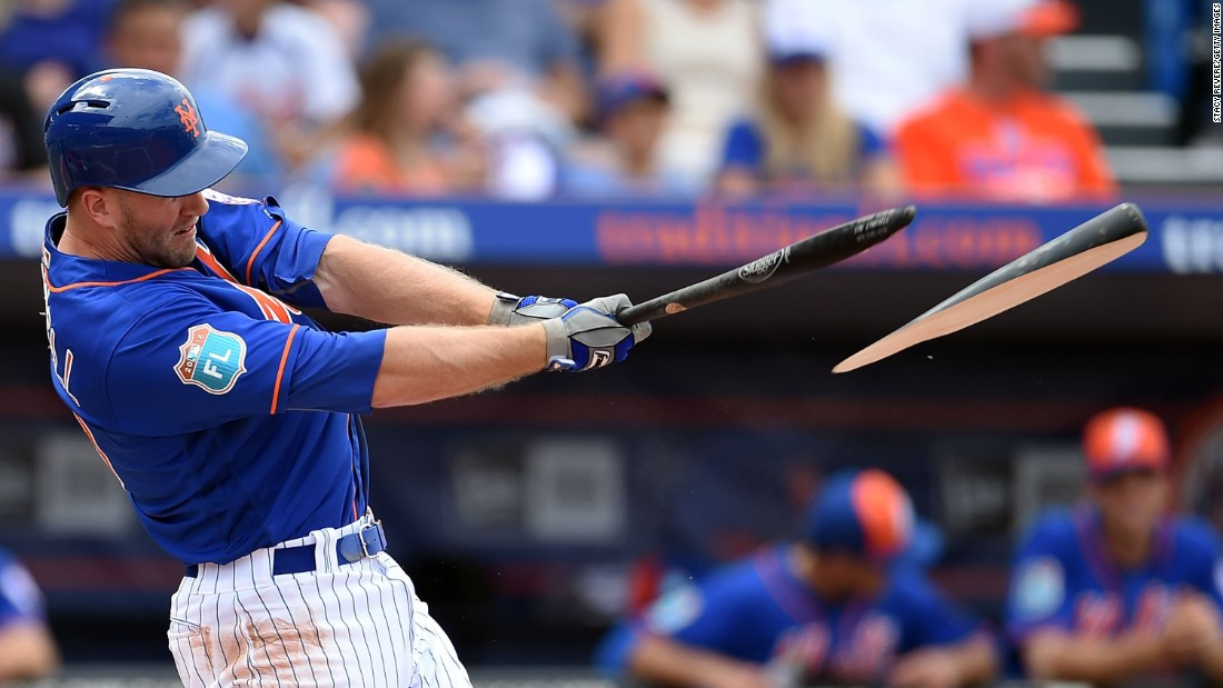 Eric Campbell of the New York Mets breaks his bat on a hit during the second inning of a spring training game against the St. Louis Cardinals on Saturday, March 12, in Port St. Lucie, Florida. <br />