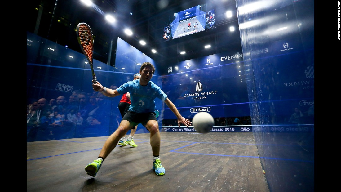 Mathieu Castagnet of France plays a forehand during his quarter-final match against James Willstrop of Great Britain during day three of the Canary Wharf Squash Classic 2016 on Wednesday, March 9, in London.