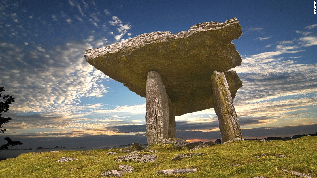 Poulnaborne is a Neolithic portal tomb in the Burren region, dating back to as early as 4,200 BC. It attracts around 200,000 visitors each year.