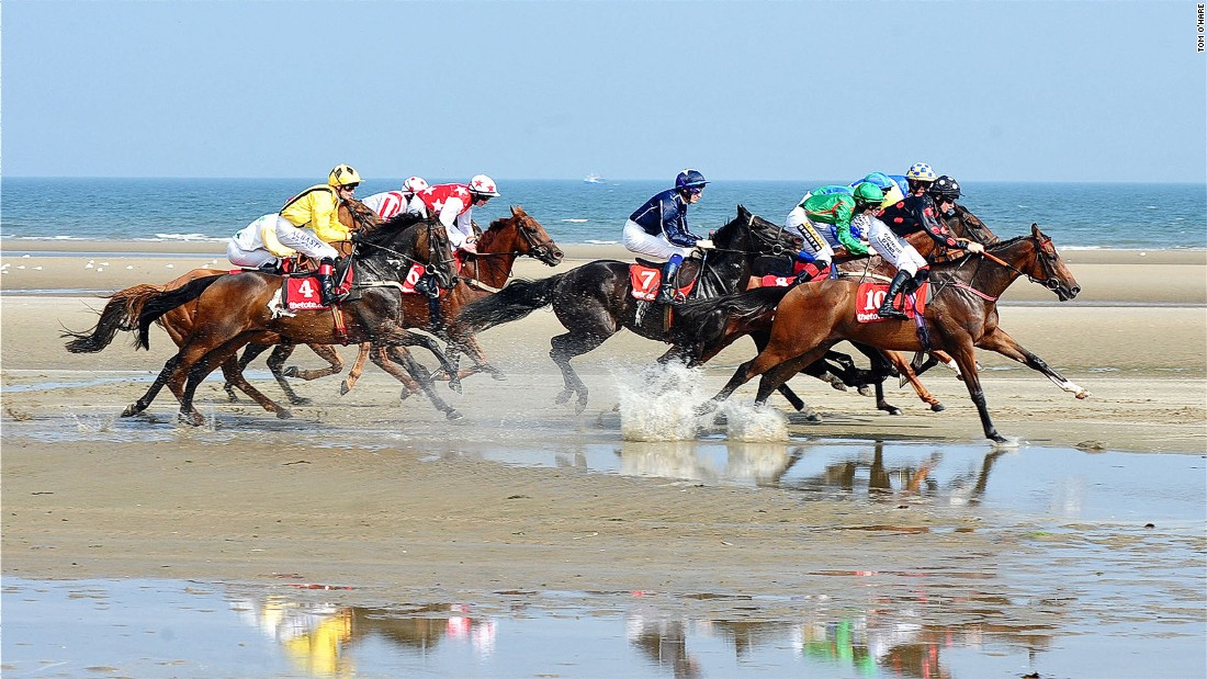 Beach volleyball isn't the only sport that can be played on sand. Thirty miles north of Dublin, a full race meeting is held each September on an east coast beach in Meath, with thousands in attendance.