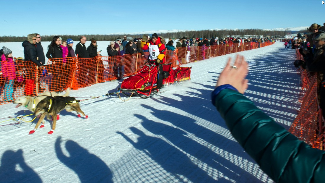 Iditarod Trail Sled Dog Race musher Mitch Seavey begins his race to Nome on March 6 in Willow, Alaska. Seavey finished in second place, about 45 minutes behind his son, Dallas.