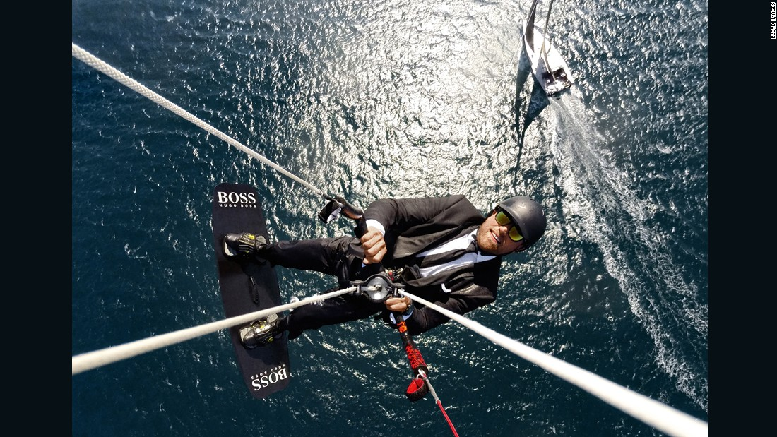 At peak height, Thomson detaches the rope from his harness, freeing him to kitesurf...