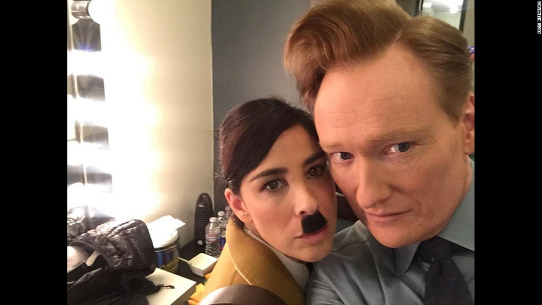 "Talk-show host Conan O'Brien <a href=""https://www.instagram.com/p/BCyuNLyjQVP/?hl=en"" target=""_blank"">takes a backstage selfie</a> with comedian Sarah Silverman ""before she gets into costume"" on Thursday, March 10."