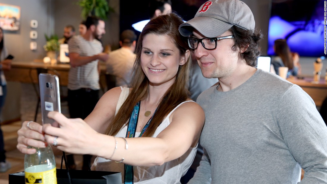 Actor Josh Brener poses for a selfie Friday, March 11, during the South by Southwest festival in Austin, Texas.