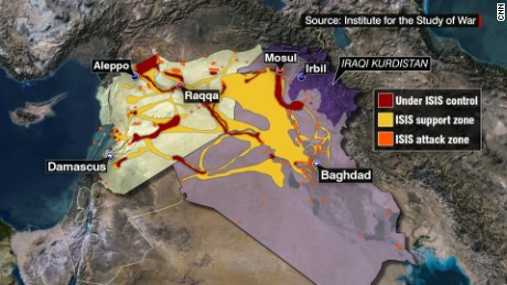 ISIS has seized control of parts of Syria and Iraq.