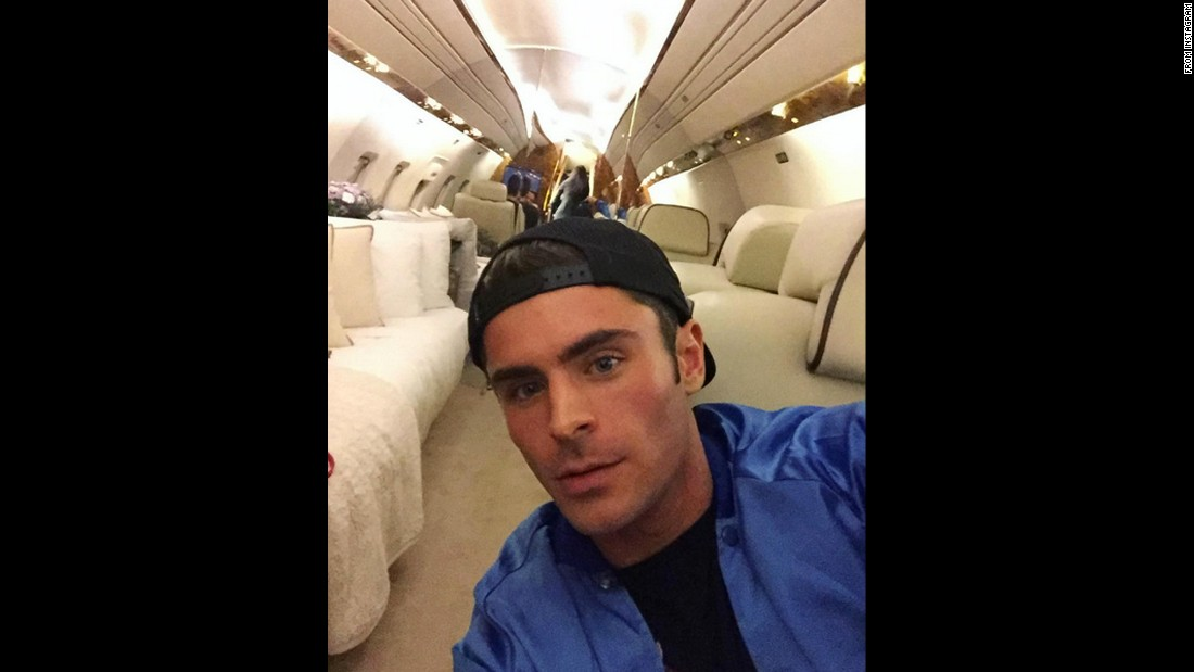 "Actor Zac Efron shows off his <a href=""https://www.instagram.com/p/BC13KvJG8-e/?hl=en"" target=""_blank"">""leg room""</a> on Saturday, March 12."