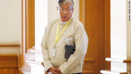 Htin Kyaw will serve as Myanmar's new president after votes were cast Tuesday, March 15, 2016.