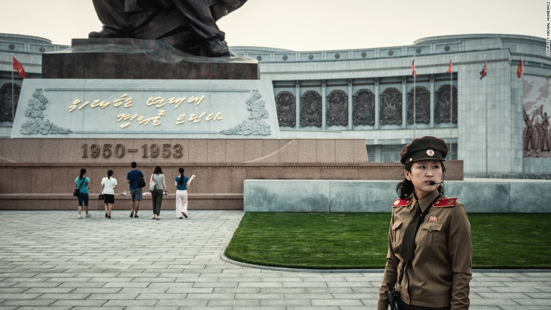 """Who's American here?"" the museum guide asks. ""Grab the flowers, go to the monument, bow, and lay the flowers there."" Huniewicz says North Koreans told him they single-handedly defeated the U.S. in the Korean War."