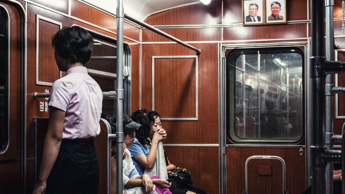 Riding the Pyongyang Metro. The underground network has two lines and 17 stations.