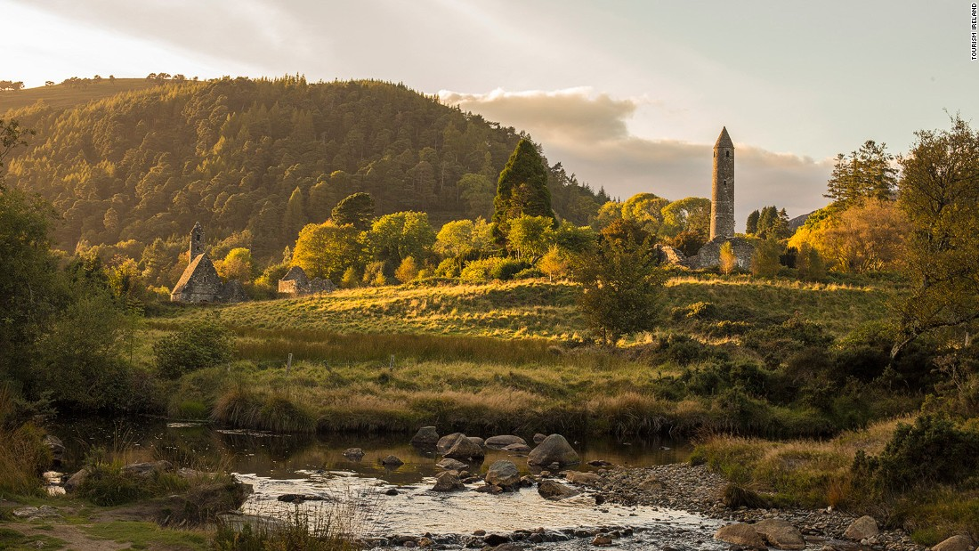The glacial valley of Glendalough is home to a sixth-century monastic settlement founded by Saint Kevin. He was an ascetic, with one particularly lurid legend claiming he drowned a woman who tried to seduce him.