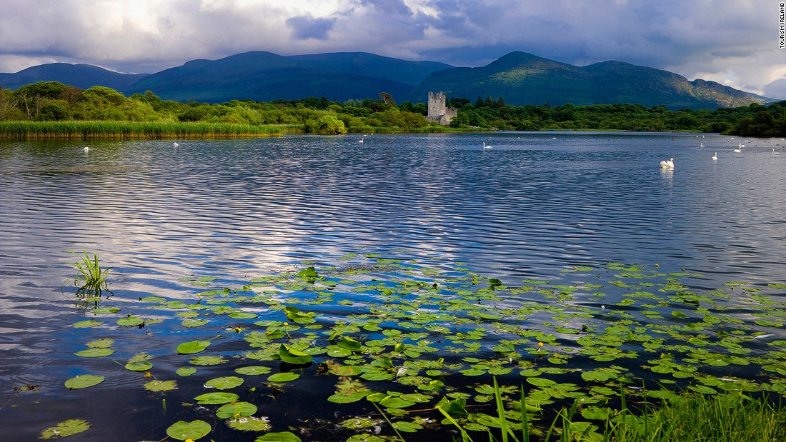 Ross Castle is a 15-century tower house and keep on the edge of Lough Leane, the largest of Killarney's three lakes.