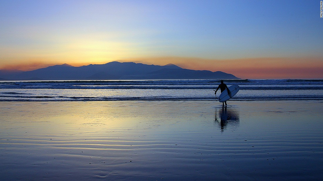 "Surfers can catch waves straight off the Atlantic at Castlegregory, a village halfway between the lively town of Dingle and Tralee, home to the endearingly outdated ""Rose of Tralee"" beauty contest."