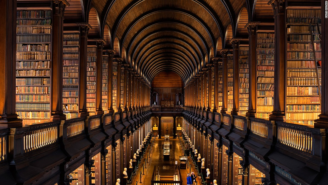 "The 65-meter ""Long Room"" is the main chamber of the Old Library at Trinity College Dublin. Former students who perhaps took inspiration within these walls include Oscar Wilde, Jonathan Swift, Bram Stoker and Samuel Beckett."