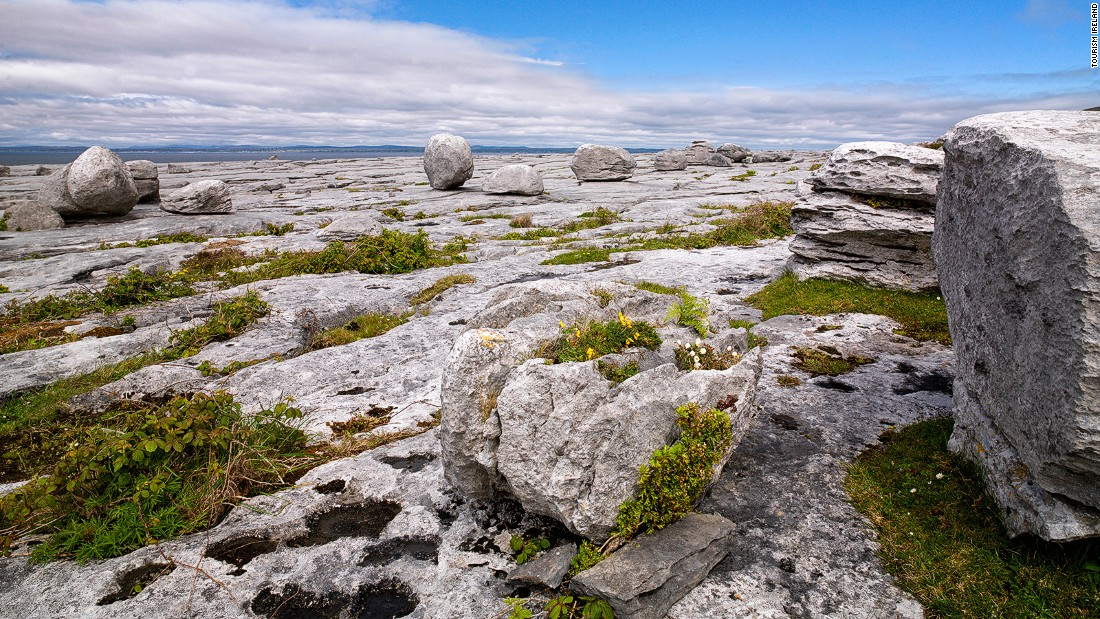 "The Burren (from the Irish word ""boíreann,"" meaning rocky place) is a 250-kilometer-square area in south-west Ireland. It's a vast karst landscape of broken limestone, cliffs, caves, fossils and rock formations."