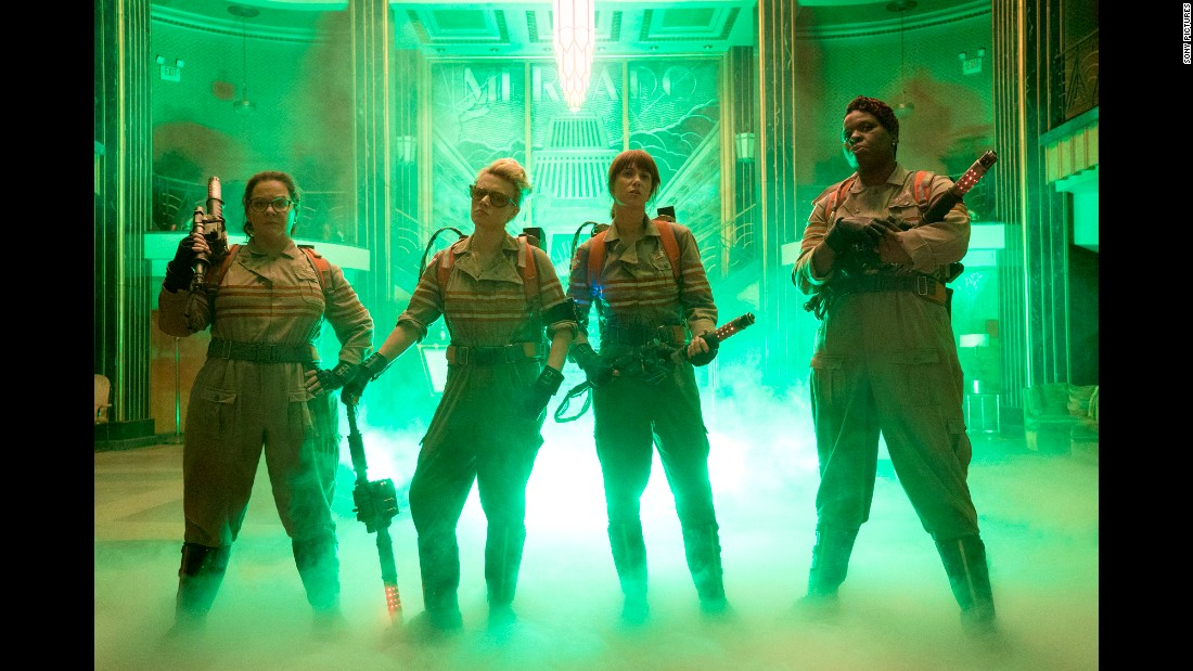 "By now, everyone knows the twist to the new ""Ghostbusters"": The foursome are female. Melissa McCarthy, Kate McKinnon, Kristen Wiig and Leslie Jones star as the specter fighters. It opens July 15."
