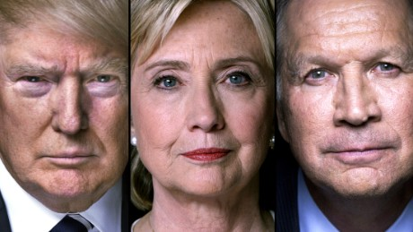 Donald Trump, Hillary Clinton and John Kasich
