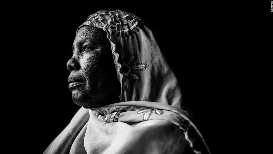 """Zainab Musa poses for a portrait. Spyra said some of his subjects """"escaped during bombardment of Boko Haram-held villages. Some of them scaled fences. Some of them had smart ideas about saying they were going to the market, and they just ran off."""""""
