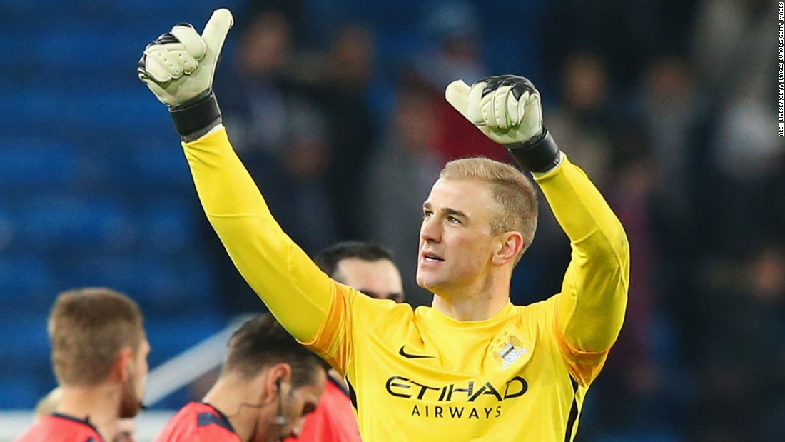 Joe Hart salutes the fans as Manchester City reach their first Champions League quarterfinal.