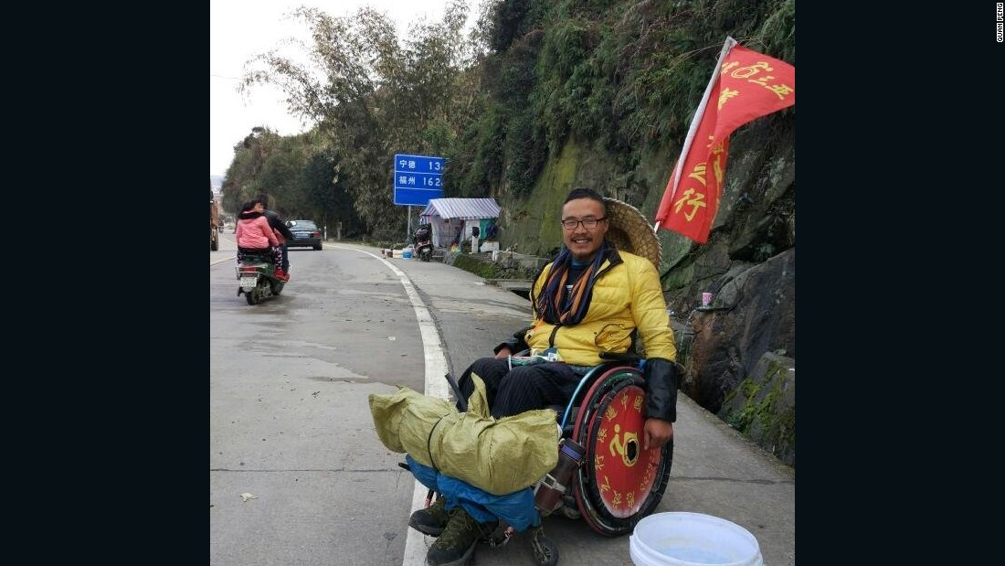 The goal of his trip is to highlight the lack of facilities for the disabled in China.