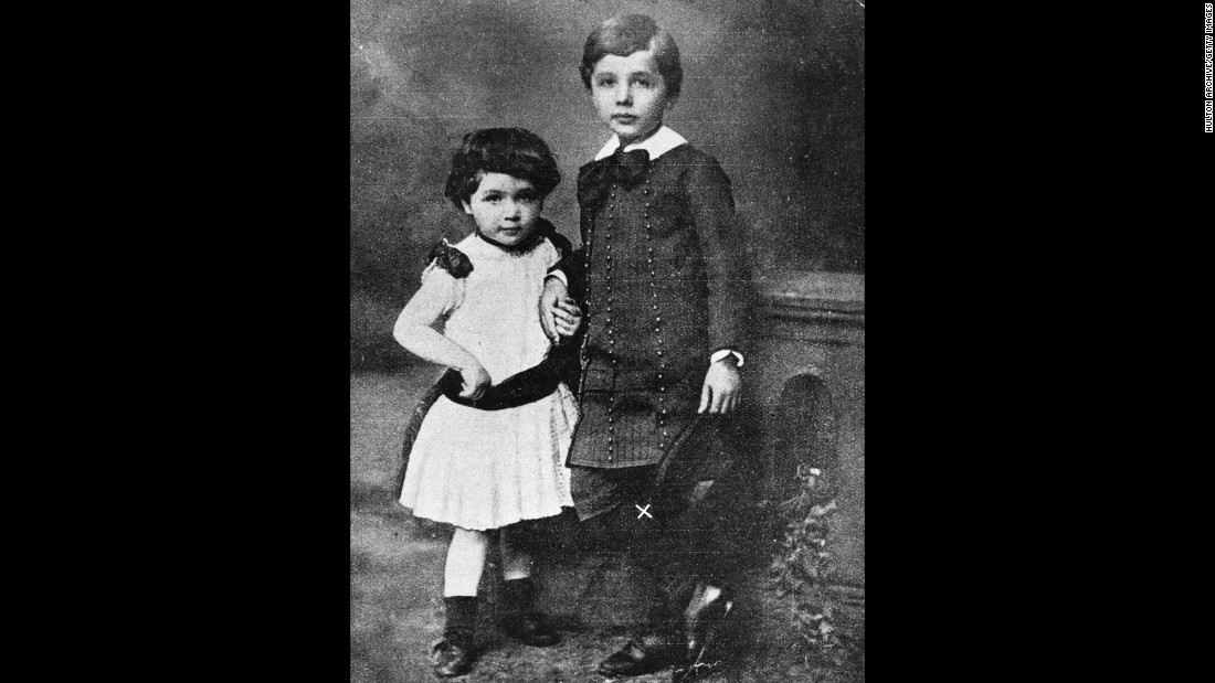 A young Einstein poses with his sister in this undated photo. Einstein was born in Germany but later moved to the United States and became a U.S. citizen.