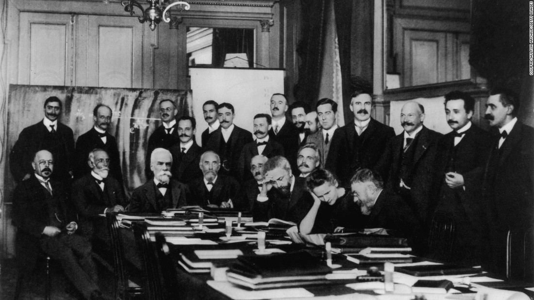 Einstein, second from right, attends an international physics conference in Brussels, Belgium, in 1911.