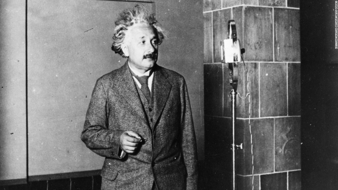Einstein speaks to inventor Thomas Edison during a radio broadcast in 1920. It was heard by 50 million people.