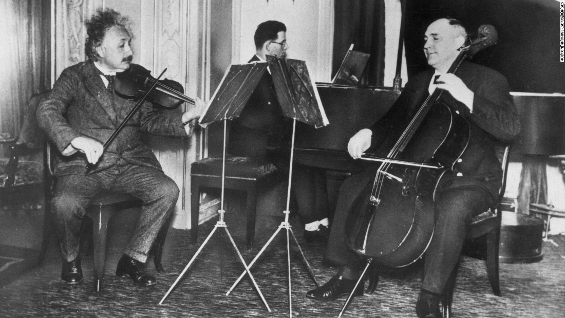 Einstein, left, plays violin aboard a German passenger ship in 1933.