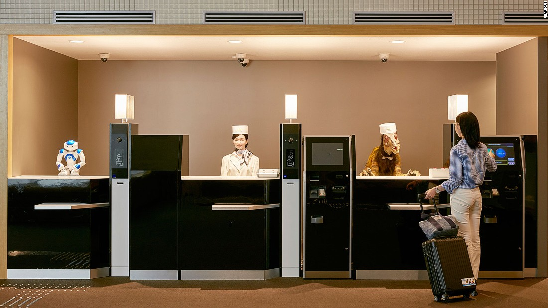 In Japan, robots turn up in unexpected places. At the five-star Henn-na Hotel in Nagasaki Prefecture, humanoid robots greet Japanese-speaking guests at reception, while English-speaking guests are met by a robotic dinosaur. Naturally.<br /><br />Droids cart luggage to the hotel's 72 rooms and clean up after you.