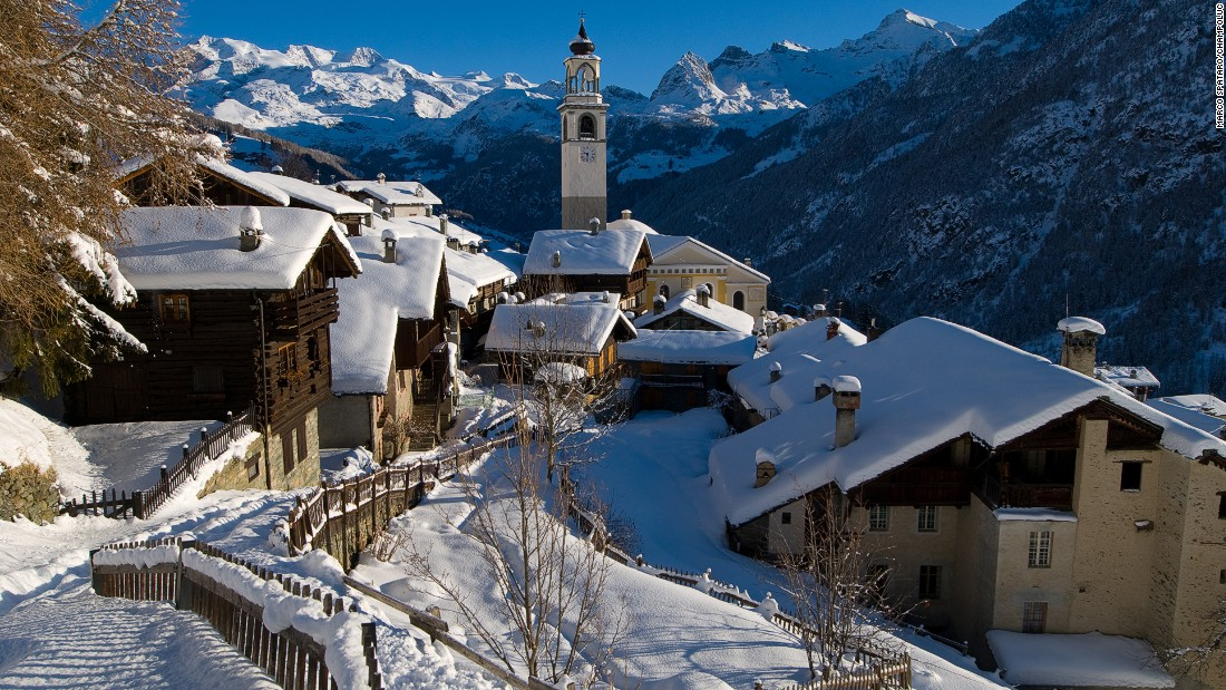 The westernmost valley of the Monterosa ski area -- with 180 kilometers of groomed runs -- Champoluc is only an hour by road from Turin but offers an amiable Italian backwater off the main Aosta Valley.