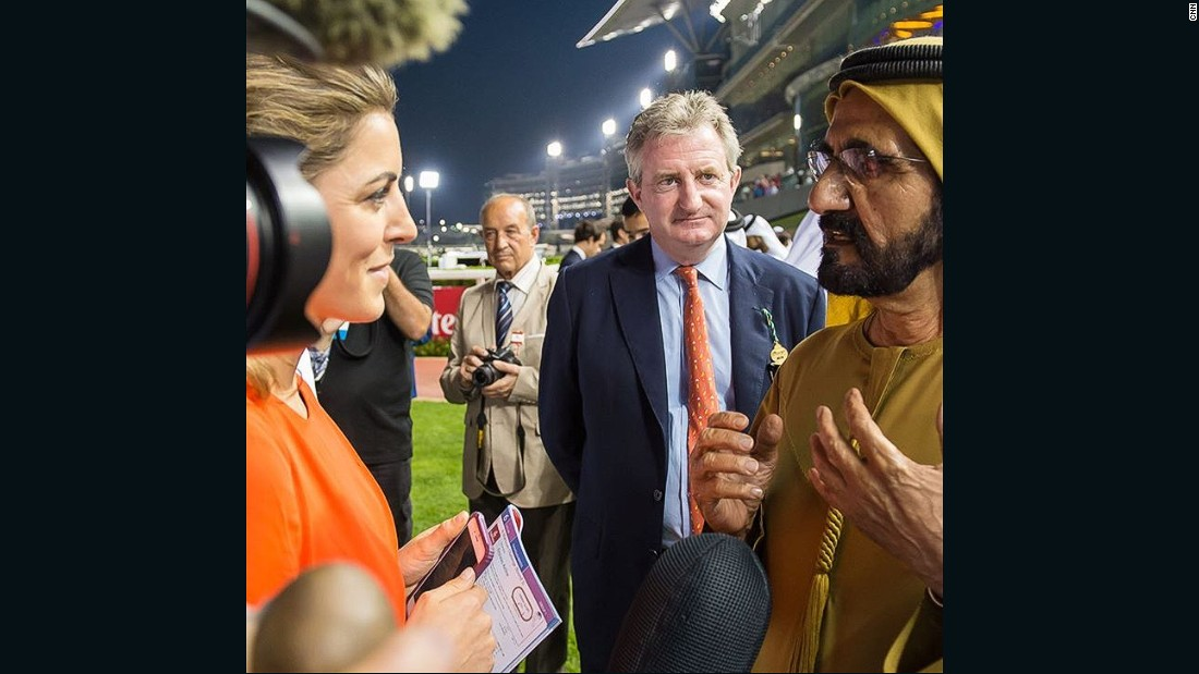 "Interviewing Sheikh Mohammed at Dubai's Meydan Racecourse on ""Super Saturday."" The meet in early March allows owners and trainers to put the finishing touches to their preparations for the prestigious Dubai World Cup which is traditionally run on the final Saturday of March."