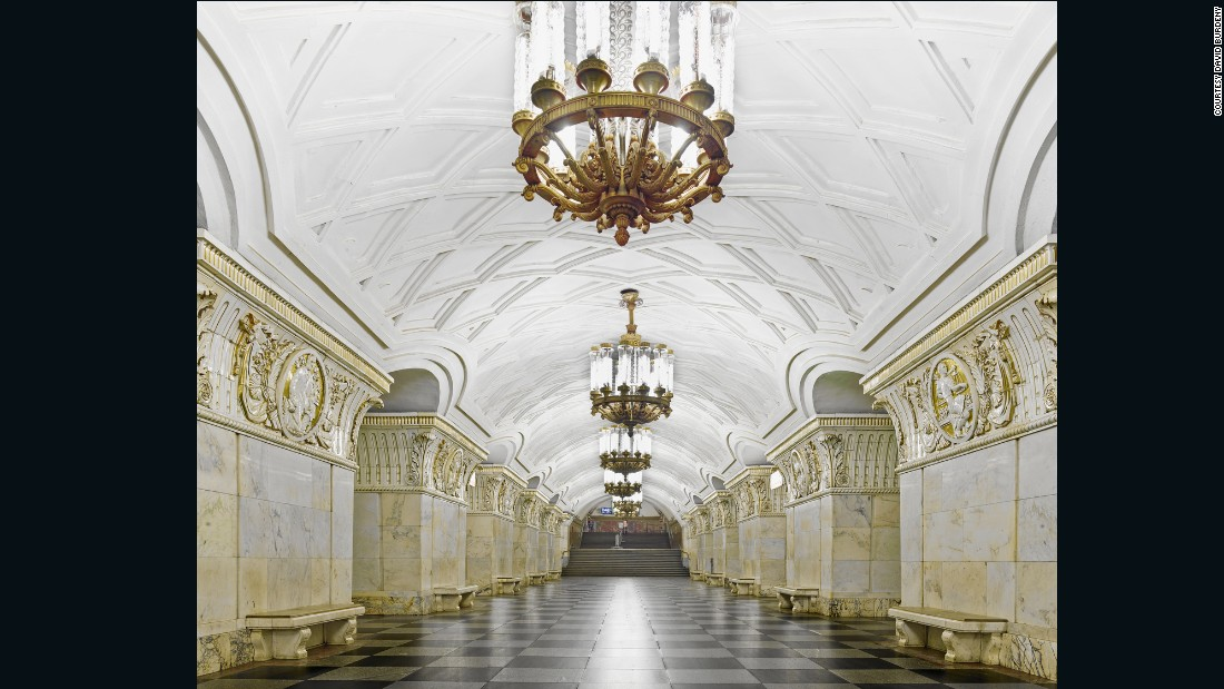 Some feature stained glass windows, marble columns, crystal chandeliers, gilded mosaics and painted scenes from Russian history.