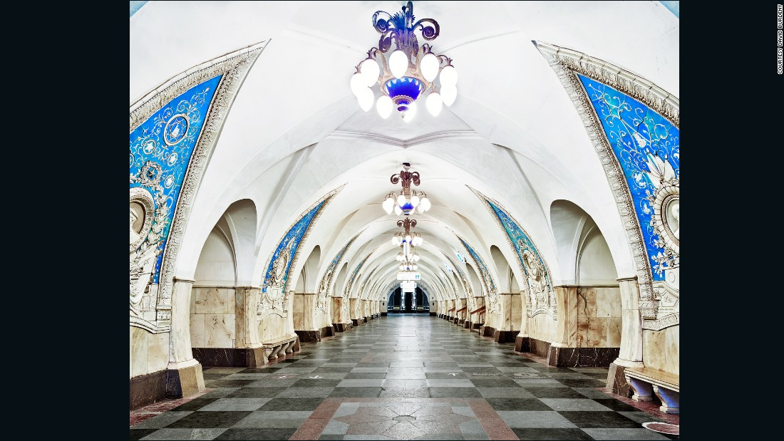 Taganskaya Metro Station is decorated with portraits of Communist war heroes.