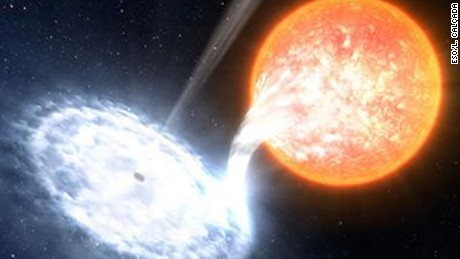 an artist's impression of a black hole, similar to V404 Cyg, devouring material from an orbiting companion star.