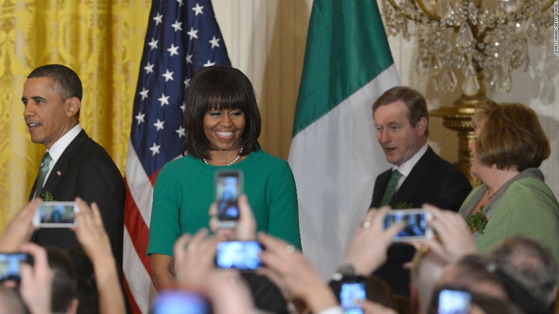 Obama, first lady Michelle Obama, Irish Prime Minister Enda Kenny and his wife Fionnuala O'Kelly attend a St. Patrick's Day reception at the White House on March 19, 2013.