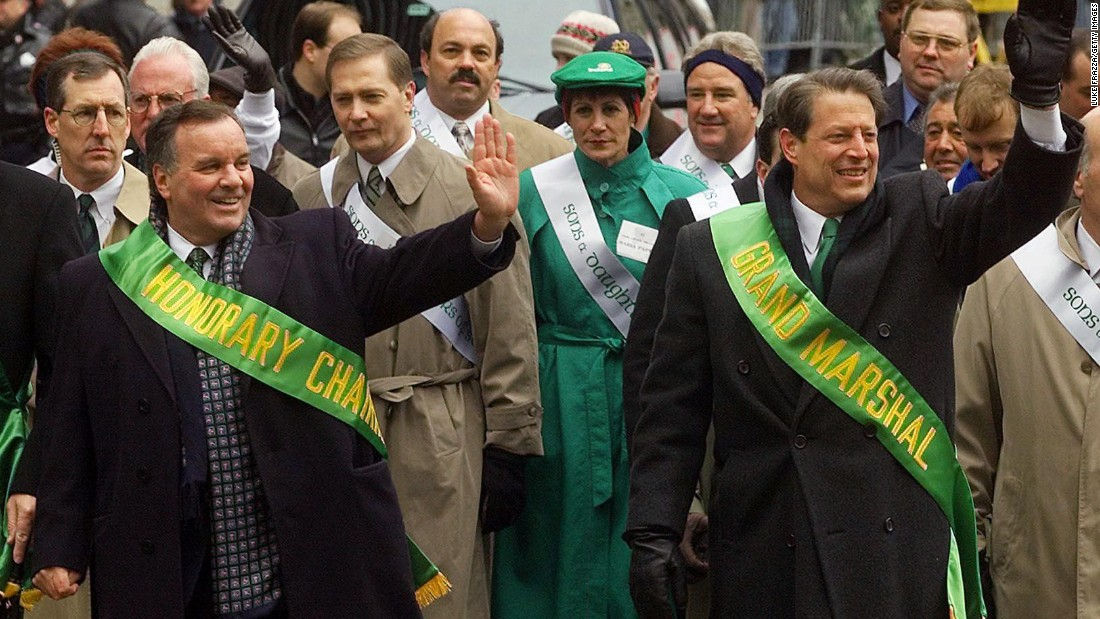 Vice President and Democratic presidential hopeful Al Gore, right, walks in a St. Patrick's Day parade with Chicago Mayor Richard Daley on March 11, 2000 in Chicago.