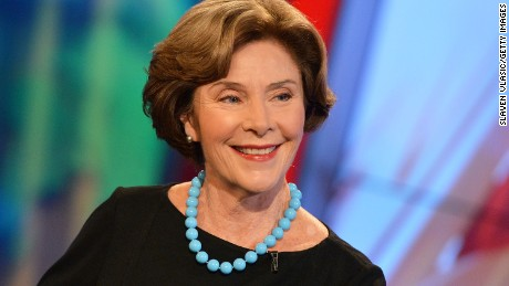 "NEW YORK, NY - SEPTEMBER 24:  Former First Lady of the United States Laura Bush visits FOX's ""America's Newsroom"" at FOX Studios on September 24, 2014 in New York City.  (Photo by Slaven Vlasic/Getty Images)"