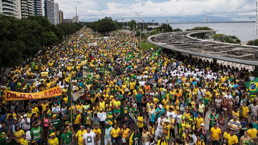 Thousands of demonstrators protest in Manaus on March 13.