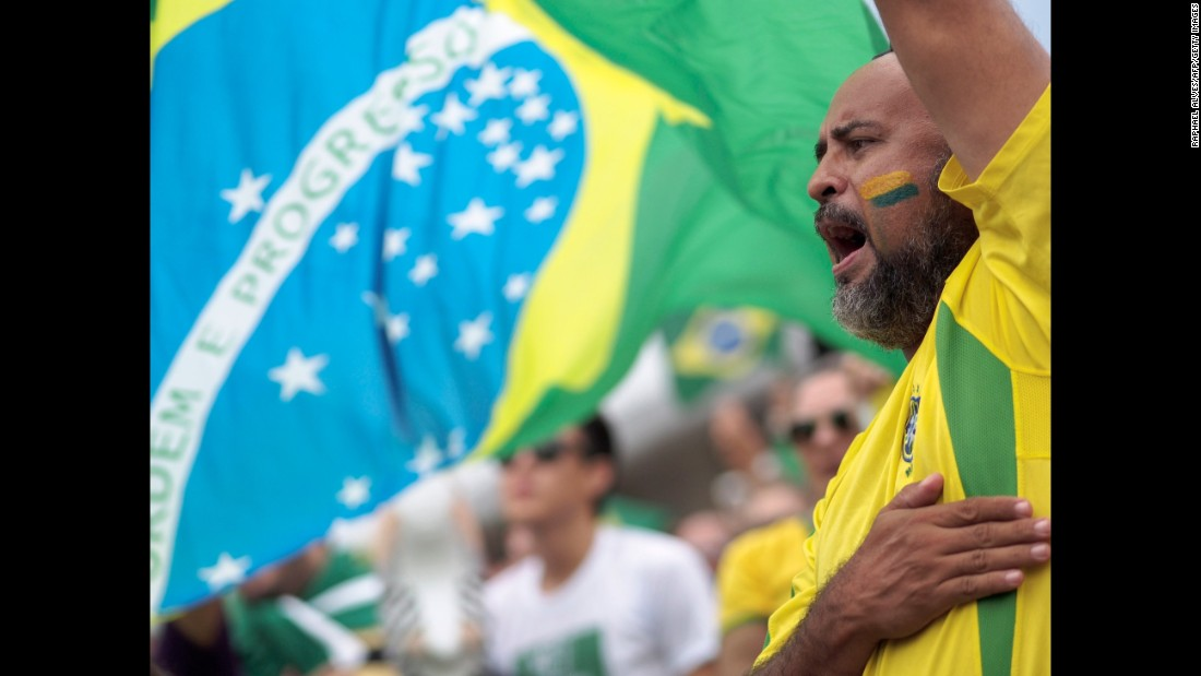 A demonstrator protests in Manaus on March 13.