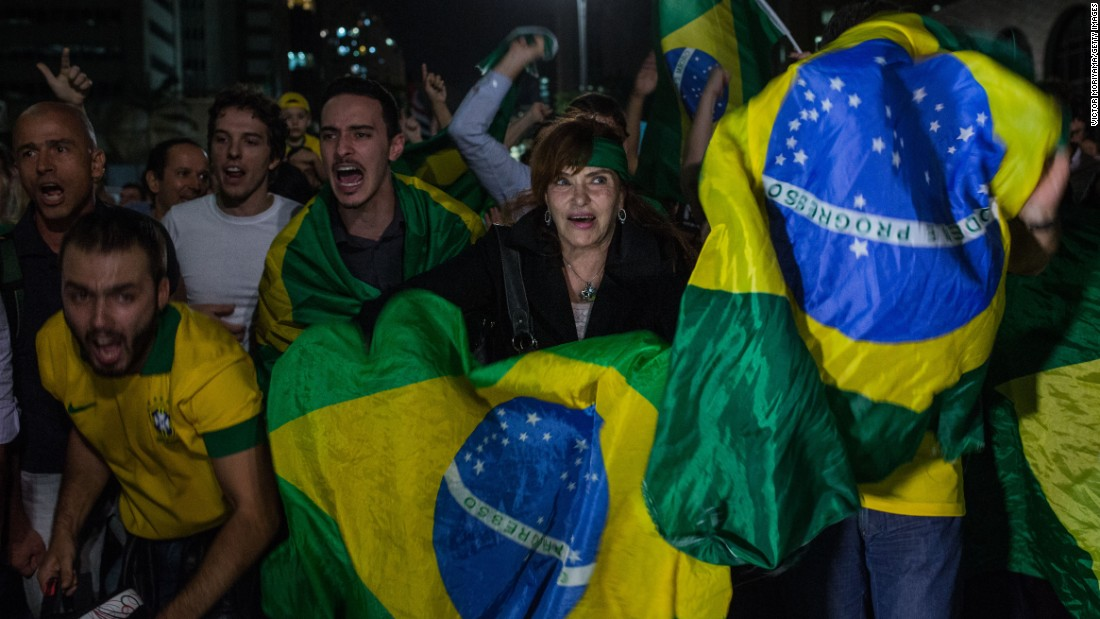 Demonstrators protest in Sao Paulo on March 16.