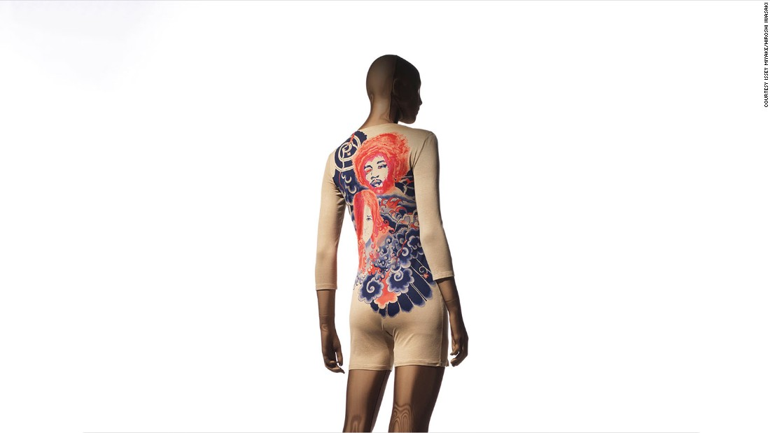 This piece from Miyake's first collection features a tattoo print of Janis Joplin and Jimi Hendrix. The image was created by Makiko Minagawa, an artist from his studio.