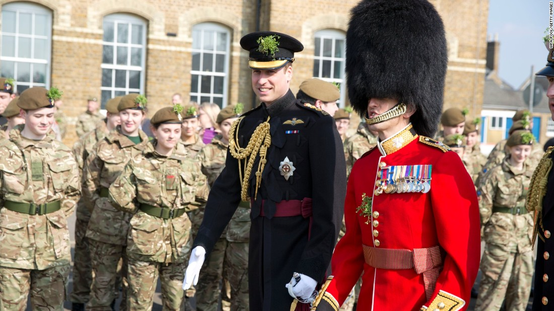 Britain's Prince William attends the St. Patrick's Day parade in London.