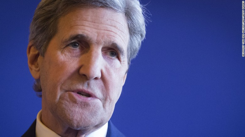 US Secretary of State John Kerry speaks following meeting between the US and its European allies on the situations in Libya, Syria, Ukraine and Yemenon March 13, 2016 in Paris.