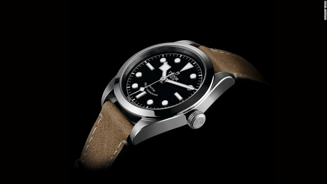 "This new Tudor features a 36 mm stainless steel case with smooth bezel. The shiny black dial is based on the Tudor diving watches from the 1950s with large applied white lume dots and ""snowflake"" hands. Possibly the sleeper hit of the show."