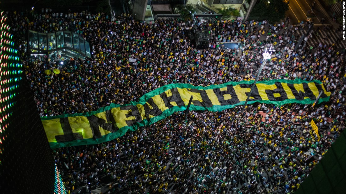 "Protesters in Sao Paulo, Brazil, call for the impeachment of Brazilian President Dilma Rousseff on Wednesday, March 16. Hundreds of thousands of Brazilians, <a href=""http://money.cnn.com/2016/03/17/news/economy/brazil-rousseff-lula-economy/"" target=""_blank"">angered by a corruption scandal and a spiraling economy,</a> have taken to the streets to protest this past week. Former President Luiz Inacio Lula da Silva <a href=""http://www.cnn.com/2016/03/17/americas/brazil-rousseff-lula-tapes/index.html"" target=""_blank"">was controversially sworn in</a> as Rousseff's chief of staff on Thursday, March 17. Opponents say the move is an attempt to shield him from a corruption investigation."