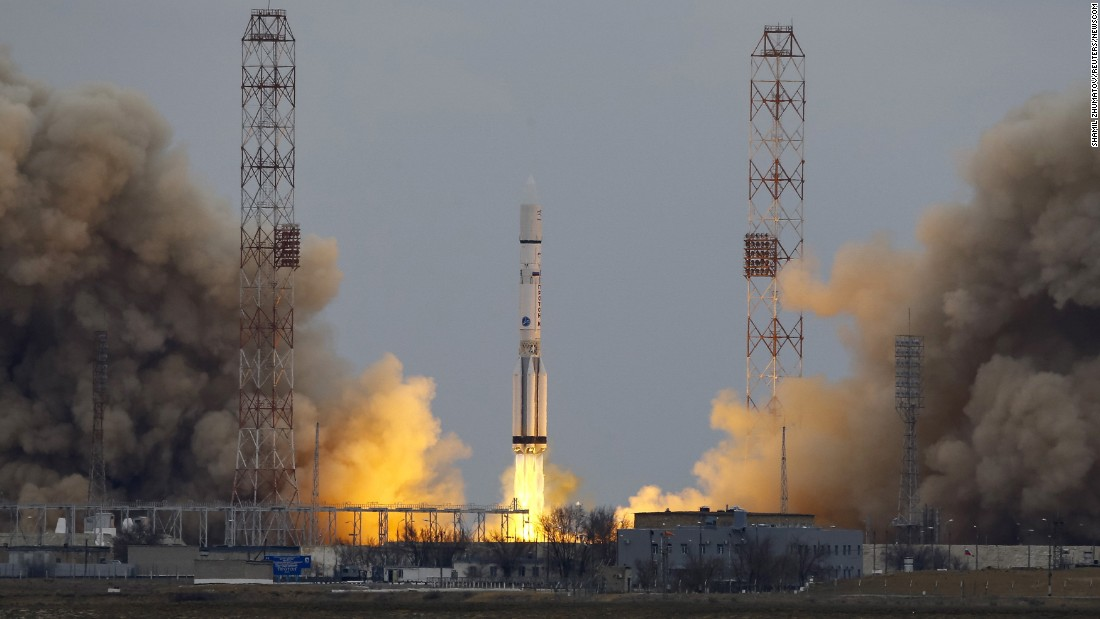"The Proton-M rocket, carrying the ExoMars Trace Gas Orbiter, blasts off from the Baikonur cosmodrome in Kazakhstan on Monday, March 14. <a href=""http://www.cnn.com/2016/03/14/world/exomars-mars-methane-mission-launch-irpt/index.html"" target=""_blank"">Its mission</a> is to seek evidence of methane and other atmospheric gases that could mean there's active biological life on Mars."